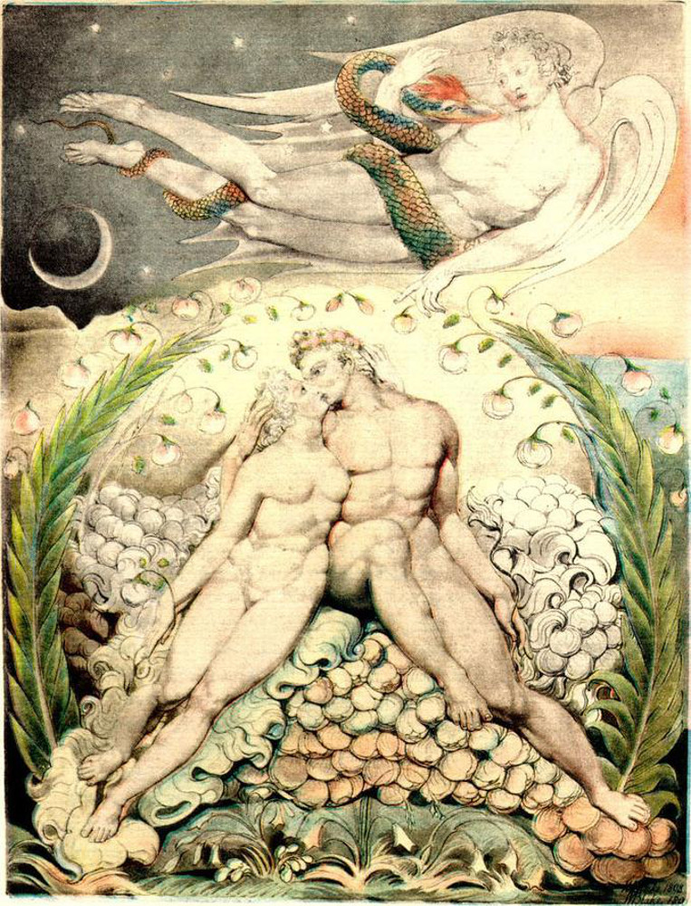 Satana guarda le effusioni di Adamo ed Eva di William Blake
