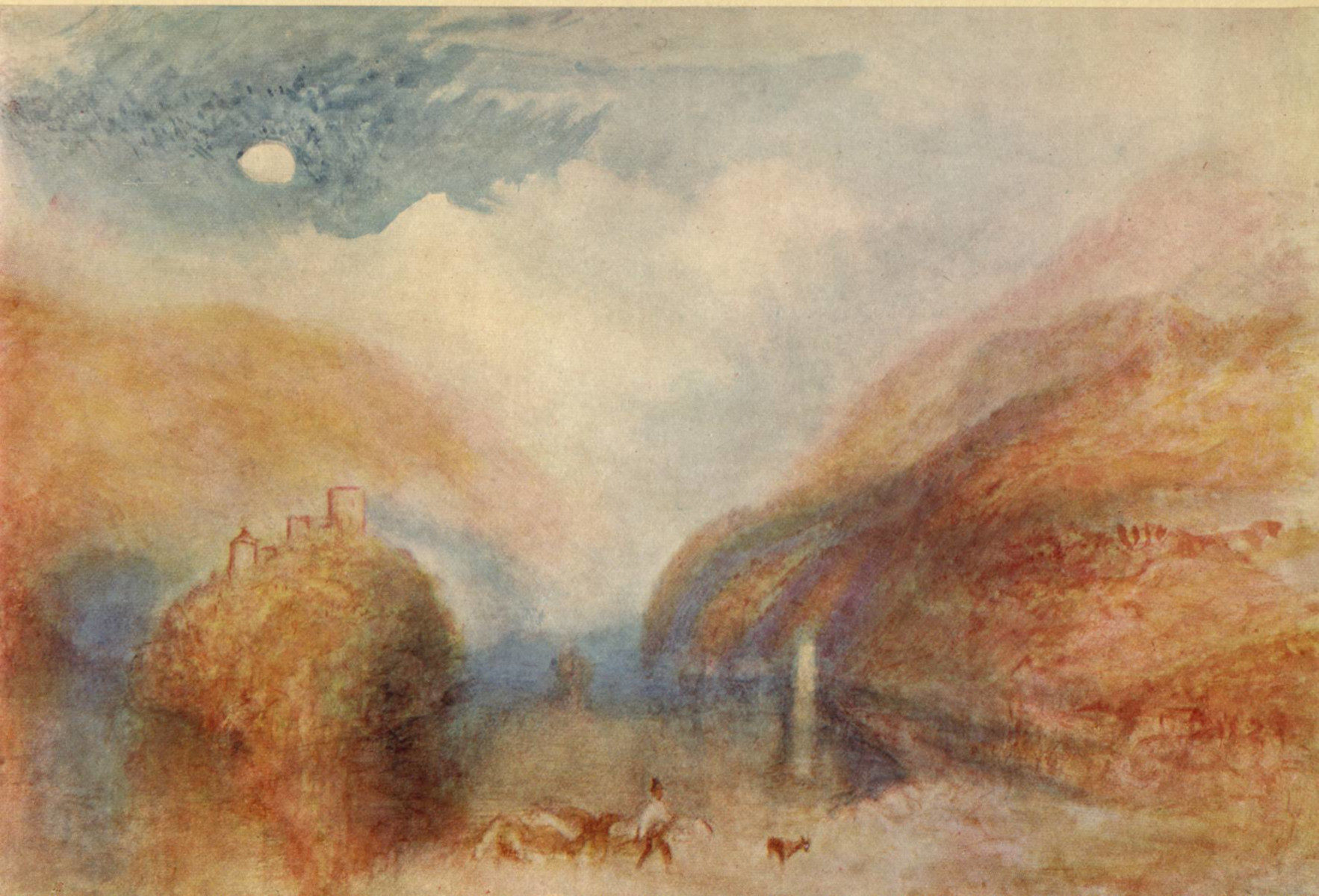 Lago con colline di William Turner